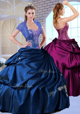 Wonderful Sweetheart Taffeta Royal Blue Quinceanera Dresses with Appliques