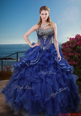 Best Selling Rhinestoned and Ruffled Quinceanera Dress in Royal Blue