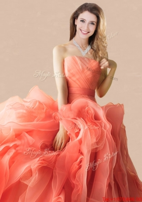 Low Price Brush Train Orange Red Quinceanera Dress in Rolling Flowers