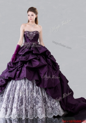 Modern Brush Train Beaded and Bubble Sweet 16 Dress in Dark Purple and White