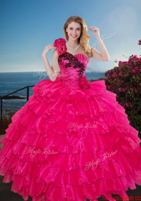 Pretty One Shoulder Quinceanera Gown with Ruffled Layers and Handmade Flowers