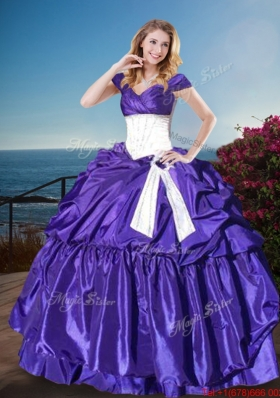Unique Off the Shoulder Cap Sleeves Sweet 16 Gown with Belt and Bubbles