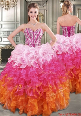 Beautiful Gradient Color Big Puffy Quinceanera Dress with Beading and Ruffles