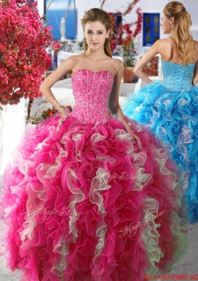 Beautiful Rose Pink and White Organza Sweet 16 Dress with Beading and Ruffles