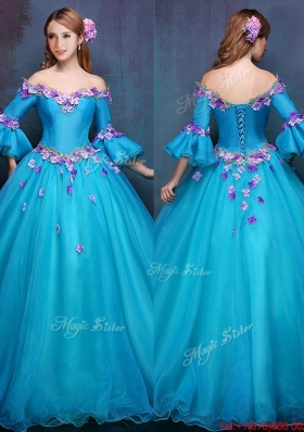 Cheap Off the Shoulder Three Fourth Length Sleeves Quinceanera Gown with Appliques