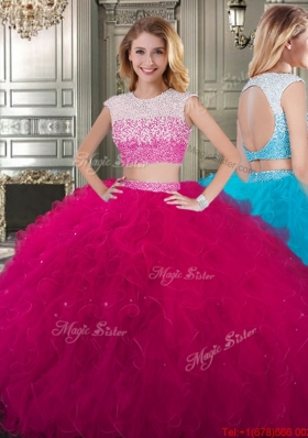 Cheap Two Piece Scoop Cap Sleeves Backless Quinceanera Dress in Fuchsia