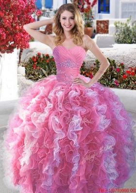 Classical Beaded and Ruffled Quinceanera Dress in Rose Pink and White