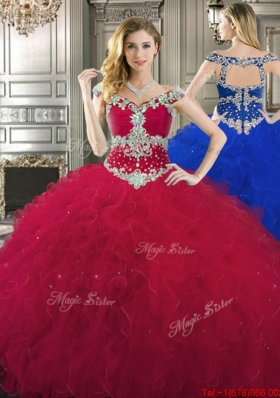 Discount Off the Shoulder Cap Sleeves Beaded Quinceanera Gown in Wine Red