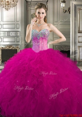 Fashionable Beaded and Ruffled Tulle Quinceanera Dress in Fuchsia