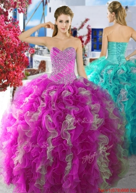 Latest Beaded and Ruffled Fuchsia and White Quinceanera Dress in Organza