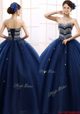 Most Popular Rhinestoned Really Puffy Sweet 16 Dress in Navy Blue