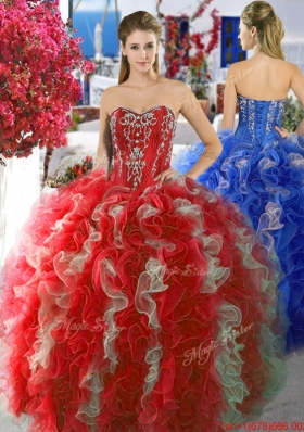 Perfect Red and White Quinceanera Dress with Beading and Ruffles