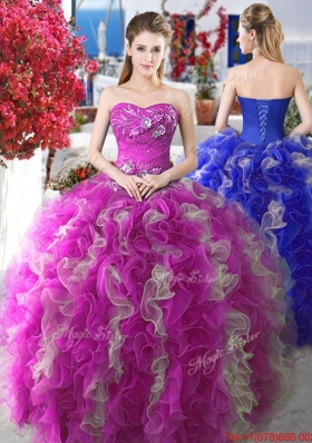 Popular Puffy Skirt Applique and Ruffled Quinceanera Gown for Spring