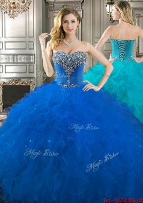 Pretty Really Puffy Beaded Bodice and Ruffled Sweet 16 Dress in Royal Blue