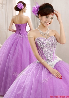 Spring Elegant Really Puffy Tulle Lilac Quinceanera Dress with Beading