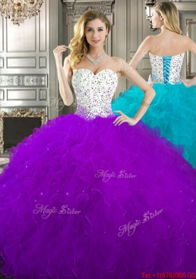 Unique Beaded and Ruffled Tulle Quinceanera Gown in Purple and White