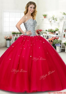 2016 Perfect Puffy Skirt Red Sweet 16 Dress with Beading
