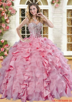 Beautiful Spring Organza and Taffeta Quinceanera Dress with Ruffles and Beading