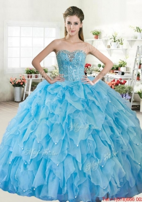 Cheap Ball Gown Sweetheart Organza Quinceanera Dress with Beading and Ruffles