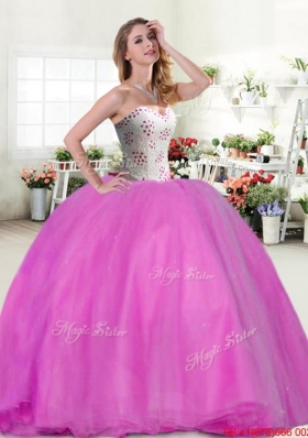 Cheap Beaded Big Puffy Hot Pink Quinceanera Dress for Spring