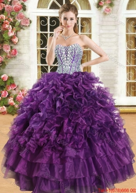 Classical Beaded Bodice Really Puffy Quinceanera Dress in Purple