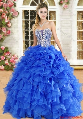 Classical Organza Beaded and Ruffled Quinceanera Gown in Royal Blue