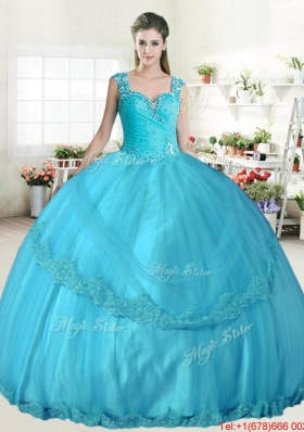 Elegant Straps Aqua Blue Quinceanera Gown with Beading and Appliques