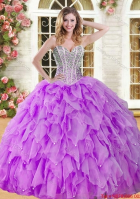 Elegant Visible Boning Beaded Bodice and Ruffled Quinceanera Gown