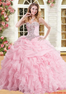 Exclusive Organza Pink Sweet 15 Dress with Pick Ups and Ruffles