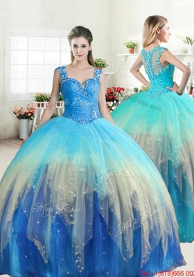 Exquisite Straps Beaded Gradient Color Quinceanera Dress with Zipper Up