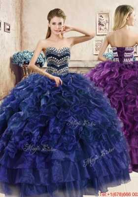 Hot Sale Puffy Skirt Beaded and Ruffled Quinceanera Dress in Organza