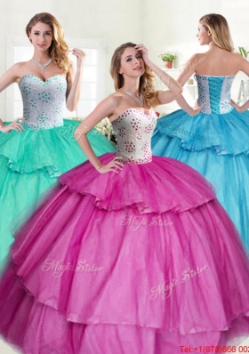 Luxurious Beaded Bodice and Ruffled Layers Quinceanera Dress in Fuchsia