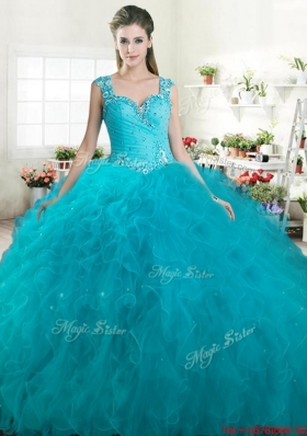 Modest Straps Beaded and Ruffled Turquoise Quinceanera Dress in Tulle