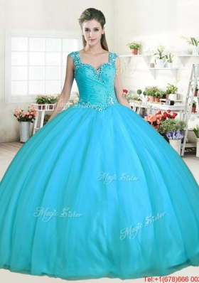 Modest Straps Beaded Aqua Blue Quinceanera Gown with Zipper Up