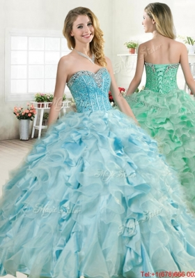 New Beaded Bodice and Ruffled Quinceanera Gown in Organza and Taffeta