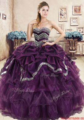 New Style Organza Beaded and Bubble Quinceanera Dress in Purple