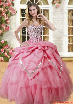 Perfect Visible Boning Puffy Skirt Quinceanera Dress with Beading and Bubbles