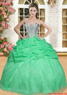 Pretty Visible Boning Spring Green Quinceanera Dress with Beaded Bodice