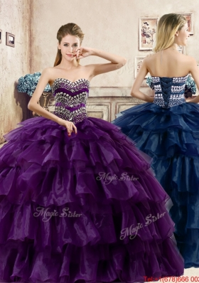 Romantic Beaded and Ruffled Layers Organza Quinceanera Dress in Purple
