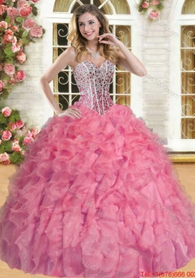 Romantic Organza Beaded and Ruffled  Quinceanera Dress in Coral Red