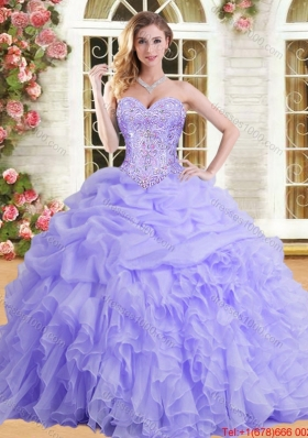 Spring Classical Beaded Bodice and Ruffled Sweet 15 Dress in Organza