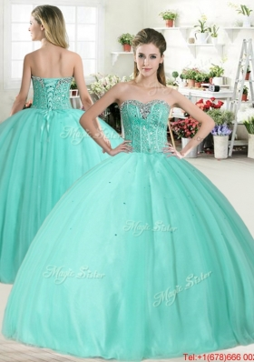 Spring Discount Apple Green Sweet 16 Dress with Beading for 2016