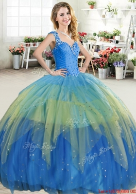 Unique Beaded and Ruffled Layers Tulle Quinceanera Dress with Zipper Up