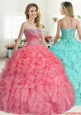 Unique Visible Boning Beaded and Ruffled Coral Red Quinceanera Dress