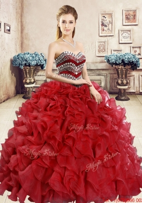 2016 Hot Sale Ball Gown Beaded and Ruffled Sweet 16 Dress in Red
