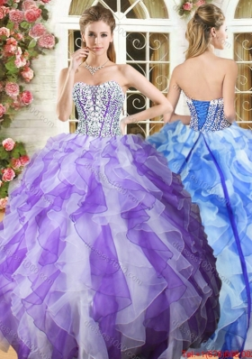 Beautiful Beaded Bodice and Ruffled Purple and White Quinceanera Dress in Organza