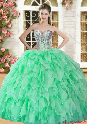 Cheap Beaded and Ruffled Organza Sweet 16 Dress in Spring Green