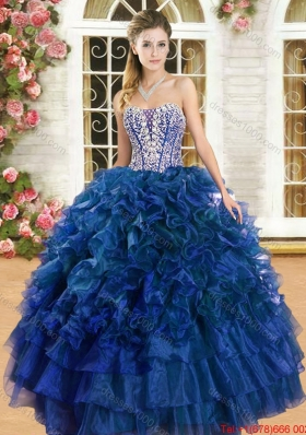 Discount Beaded Bodice and Ruffled Royal Blue Sweet 16 Gown in Organza