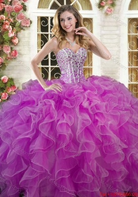 Exclusive Visible Boning Beaded Bodice Quinceanera Dress in Organza