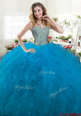 Low Price Really Puffy Beaded and Ruffled Quinceanera Dress in Blue